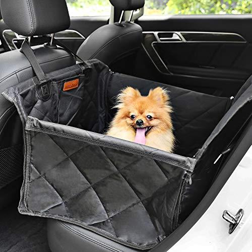 Looxmeer Autositz Hunde für Kleine Mittlere Hunde, Hundesitz Auto für die Rückbank mit Sicherheitsgurt, wasserdichte Hundedecke Rücksitzschutz, Schwarz