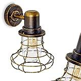 Außenwandleuchte Borkan aus Metall in Braun-Gold - extravagantes Design in Gitteroptik - Fassadenlampe mit E27-Fassung - Wandlampe für Garten - Hof - Veranda - Terrasse - Balkon - Wandleuchte 30,5cm