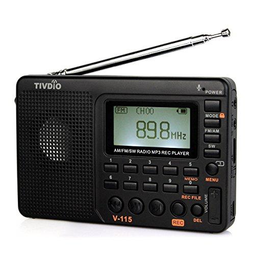 Tivdio V-115 KW Radio AM UKW World Band Kurzwellenlaut Sprecher LCD REC Sprachrecorder Bass mit USB MP3 Player und Sleep Timer (Schwarz)