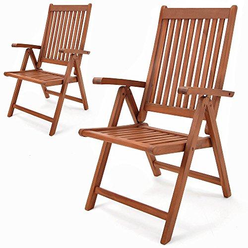 Deuba 2er Set Gartenstuhl Klappstuhl Hochlehner Vanamo aus Eukalyptus Holz - Klappstühle Klappsessel Gartenmöbel Set