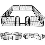 Yaheetech Freigehege Welpenlaufstall Welpenzaun Gehege Laufstall, aus 16 Panelen, mit 2 Türen, je Panel 80 x 60 cm, Outdoor oder Indoor