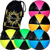5x Flames N Games ASTRIX UV Thud Jonglierbälle 5er Set (Mehrfarben) Profi Beanbag Bälle aus Glattleder (Leather) + Reisetasche! Ideal für Anfänger und Profis!