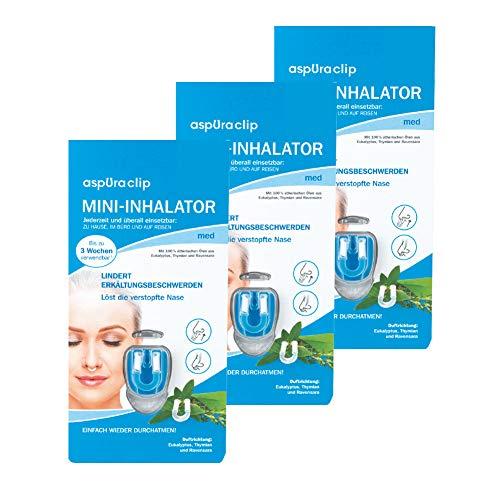 aspUraclip Mini-Inhalator med (3er Pack)   Erster Mini-Inhalator für die Nase   Mit 100% Bio-Ölen aus Eukalyptus, Thymian und Ravensara   Ätherische Öle können Erkältungsbeschwerden lindern