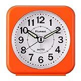 Plumeet Kleiner Reisewecker mit Schlummerfunktion und Licht, Signaltöne, sanftes Wecken, ansteigende Lautstärke, leise ohne Ticken, Analog Quartz, Batteriebetrieb (Orange)