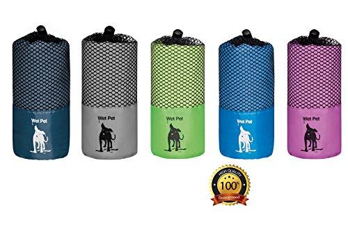 Großes Hundehandtuch (Navyblau) aus Mikrofaser von Wet Pet (120 x 80 cm): super saugfähig, schnelltrocknend, leicht, kompakt, antibakteriell, farbenfroh und kuschelig weich. Im praktischen Beutel für Reisen und Ausflüge. Auch als Hundedecke und Welpendecke verwendbar. (Navy)