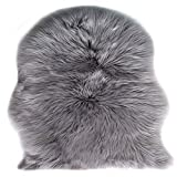 Faux Lammfell Schaffell Teppich (60 x 90 cm) Lammfellimitat Teppich Longhair Fell Optik Nachahmung Wolle Bettvorleger Sofa Matte (Grau)