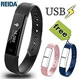REIDA Fitness Tracker, Smart Bracelet mit Zwei zusätzlichen Ersatzbändern, Tragbares Armband mit Schrittzähler und Schlaftracker (RL6001-2)