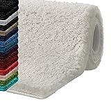 casa pura Badematte Hochflor Sky Soft | Weicher, Flauschiger Badezimmerteppich in Shaggy-Optik | Badvorleger rutschfest waschbar | schadstoffgeprüft | 16 Farben in 6 Größen (rund 95 cm, Creme/Ivory)