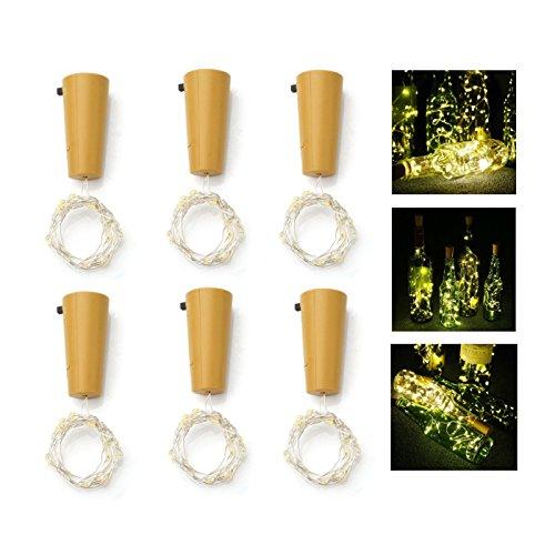 Flaschenlicht, ALED LIGHT Weinflaschen Lichter 6-teilig Kork Flasche Mini-Lichterkette Flaschenbeleuchtung 100cm 20Leds Kupferdraht Licht Sternenlicht für Flasche DIY, Weihnachten Hochzeit und Party Halloween