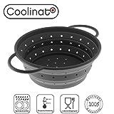 Coolinato Sieb Faltbar aus Silikon | Platzsparend, leicht zu Reinigen und Spülmaschinenfest | Verwendet als Nudelsieb, Abtropfsieb, Dampfgar Einsatz oder Küchensieb | Grau 16 cm