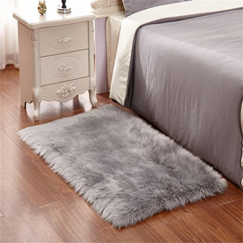 Faux Lammfell Schaffell Teppich ,HEQUN Flauschig Weiche Nachahmung Wolle Teppich Longhair Fell Optik Gemütliches Schaffell Bettvorleger Sofa Matte (Grau, 180 X 80 CM)