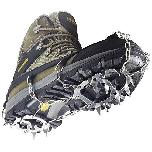 YUEDGE Crampons Universal 18 Stahl Zähne Anti-Rutsch Spikes EIS Und Schnee Traktion Edelstahl Steigeisen (L, schwarz)
