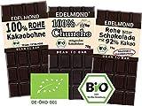 Edelmond Bio Bittere Schokolade - Kennenlern-Paket Mini  Drei bitterste Schokoladen  Für Puristen und extrem Genießer  Vegan und Fair-Trade  Ohne Soja Emulgatoren
