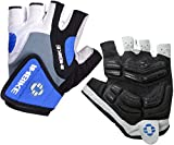 INBIKE Herren Fahrradhandschuhe Mit Gel Fingerlos Kurz MTB Handschuhe Sommer(Blau,L)