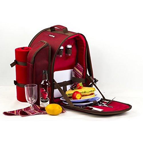 apollowalker 2Personen rot Picknick Rucksack Picknickkorb mit Kühltasche inkl. Geschirr & Fleece Decke
