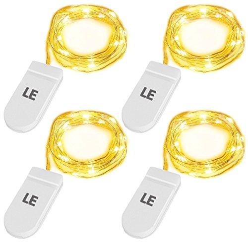 LE 20 LEDs Mini Lichterkette mit Batterie, Drahtlichterkette Jeweils 1M, IP67 wasserdicht, Ideale Weihnachtsbeleuchtung für Außen, Innen, Zimmer, Party, Deko Weinflasche usw. Warmweiß 4er Pack