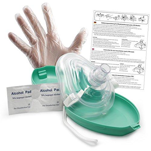 Lunata CPR Erste Hilfe Maske mit Sauerstoffanschluss, Notfallbeatmungsmaske, Notfallmaske, Beatmungsmaske mit Zubehör und Ersthelfer-Anleitung