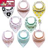 8er Baby Dreieckstuch Lätzchen Spucktuch Halstücher mit Verstellbaren Druckknöpfen Multifunctional, Super Absorbent & Soft Baumwoll, Mädchen, von Future Founder