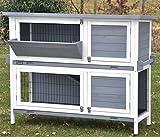 nanook 'Bunny' - Kaninchenstall, Hasenstall doppelstöckig, wetterfest für draußen - mit Heuraufe und Tragegriffen - Farbe: grau / weiß