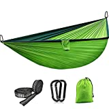 Hängematte Outdoor Camping Garten für 2 Personen Ladekapazität von 300kg Ultraleicht für Wandern Reisen Strand Grün 270x140cm