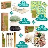 ecopura Zero Waste Set - Bambus Zahnbürsten, Konjac Schwamm, Bienenwachstücher, Wattepads, Obst-/ Gemüsebeutel - Umweltfreundlich, Biologisch Abbaubar, Plastikfrei, Ökologisch, Nachhaltiges Geschenk