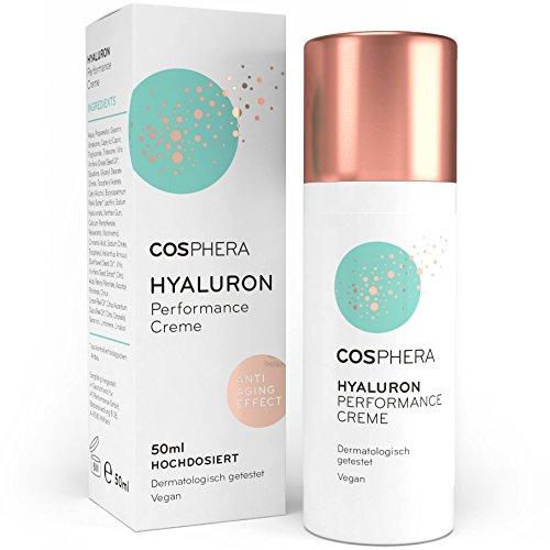 Hyaluron Performance Creme 50 ml - Tages- und Nachtcreme mit Hyaluronsäure hochdosiert für Gesicht, Hals, Dekolleté, Augen - Vegane Anti-Aging & Anti-Falten Feuchtigkeitsbehandlung für Frauen und Männer von Cosphera