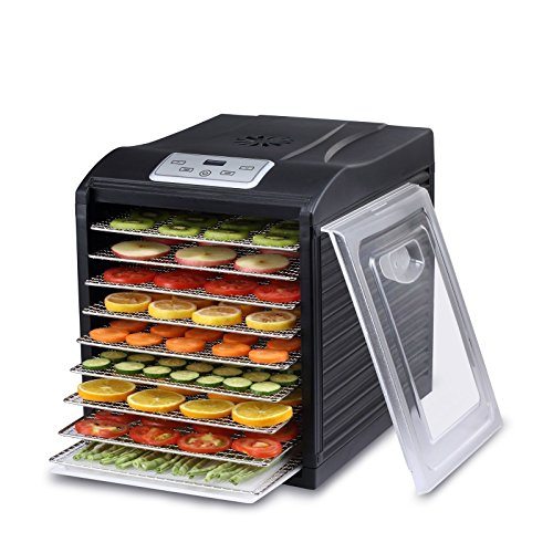 BioChef Arizona Sol Dörrautomat / Dörrgerät mit 9 Einschüben aus Edelstahl PLUS Digitaler Timer + Thermostat, 3x Anti-Haft Folien, 2x feinmaschige Einlegematten, 1x Auffangblech (Schwarz)