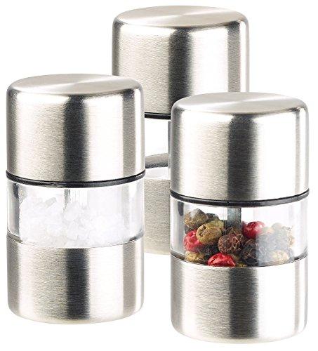 PEARL Mühlen: Mini-Salz-/Pfeffermühle, Edelstahl, Keramikmahlwerk, 3er-Set (Kardamom Mühle)