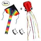ZoomSky 2er Kinderdrachen, Großer Regenbogen Delta Einleiner Flugdrachen und Oktopus Drachen mit Drachenschnur Schwänze für Kinder Erwachsene Outdoor Strand Spielzeug