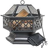 Feuerschale für den Außenbereich, sechseckiger Feuerkorb für Garten oder Terrasse, Feuerstelle mit Funkenschutz, Schürhaken und Schutzabdeckung, Schwarz und Bronze, 61 cm L x 65 cm H