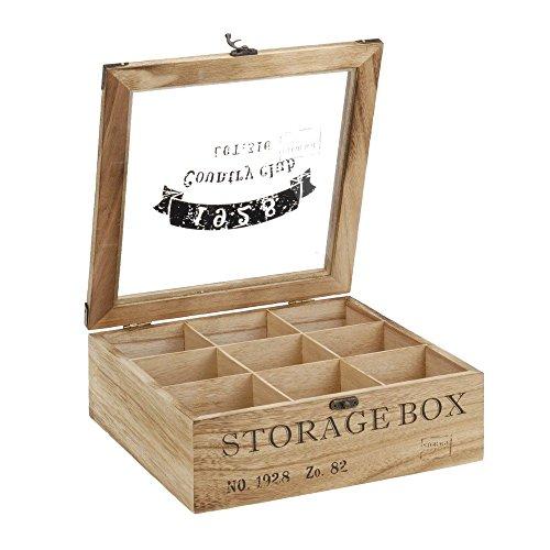 ToCi Teebox Holz Natur mit 9 Fächern | Quadratische Teekiste Teedose Teebeutel Box Aufbewahrung | 24 x 24 x 8,5 cm (LxBxH) | 'Storage Box' im Retro Look