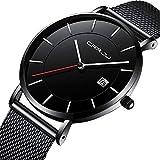Godagoda Herren Armbanduhr Einfach Edelstahl Mesh Armband Wasserdicht Männer Ultradünn Quarzuhr mit Datum