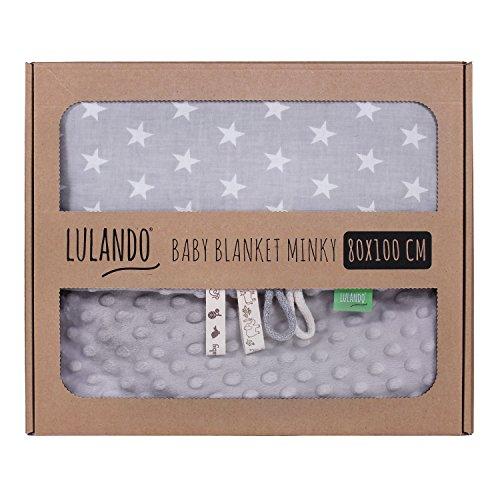 LULANDO Babydecke Kuscheldecke Krabbeldecke aus 100% Baumwolle (80x100 cm). Super weich und flauschig. Kuschelige Lieblingsdecke für Ihr Baby. Farbe: Grey - White Stars / Grey