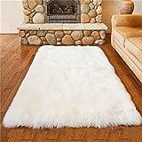 Faux Lammfell Schaffell Teppich 75 x 120 cm Lammfellimitat Teppich Longhair Fell Optik Nachahmung Wolle Bettvorleger Sofa Matte (Weiß)