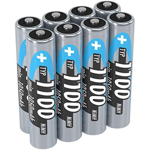Ansmann NiMH Micro AAA Akkus 1,2V / Typ 1100mAh / Leistungsstarke Akkubatterien für Geräte mit hohem Stromverbrauch - ideal für Blitzgerät, Kameras & Fernbedienungen, 8 Stück