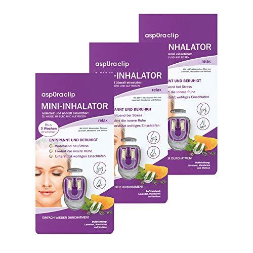 aspUraclip Mini-Inhalator relax (3er Pack)   Erster Mini-Inhalator für die Nase   Mit 100% Bio-Ölen aus Lavendel, Mandarine und Melisse   Wohltuend bei Stress & fördert die innere Ruhe