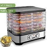 Dörrautomat mit Temperaturregler, Dörrgerät für Lebensmittel, Obst- Fleisch- Früchte-Trockner, Dehydrator mit Timer, BPA-frei, 5 Etagen