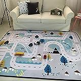 VClife Teppiche Polyester Matte Kinderteppich Baby Krabbeldecke Kinder Spielteppich Geschenk Yoga Teppich Picknick Balkon Strand 150 x 200cm Dorf