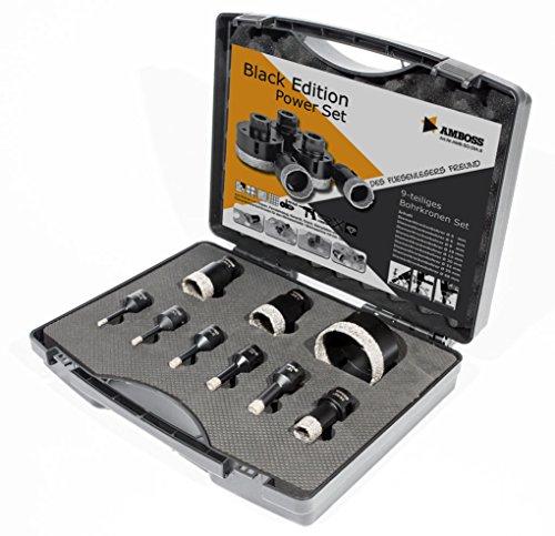 Amboss 'Black Edition' - Diamant Fliesenbohrer-/Bohrkronen - Set 9 tlg. (Ø 5-68 mm)   M14 für Winkelschleifer   Fliesen, Granit, Feinsteinzeug