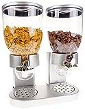 United Entertainment - Müslispender / Cerealienspender / Cornflakesspender / Doppel-Spender für Müsli, Cornflakes und Cerealien - Silber