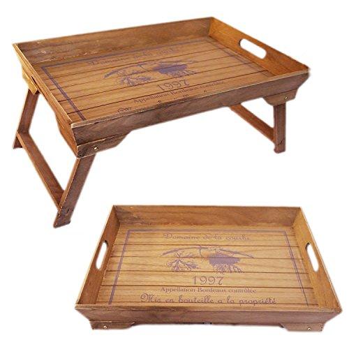 LebenStil Design Holz Betttablett Tablett Knietablett Frühstückstablett klappbar Shabby 48,5x32x25cm Braun Vintage Slogan