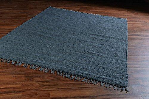 Flickenteppich Wohnzimmerteppich Handwebteppich FRANKEN Dunkelgrau | 140x200 cm | Grau | Baumwolle