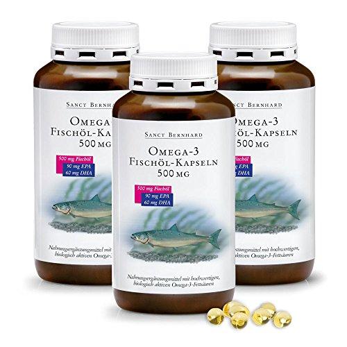 Omega-3 Fischöl-Kapseln 500 mg, Inhalt 1200 Stück (3er-Bundle)