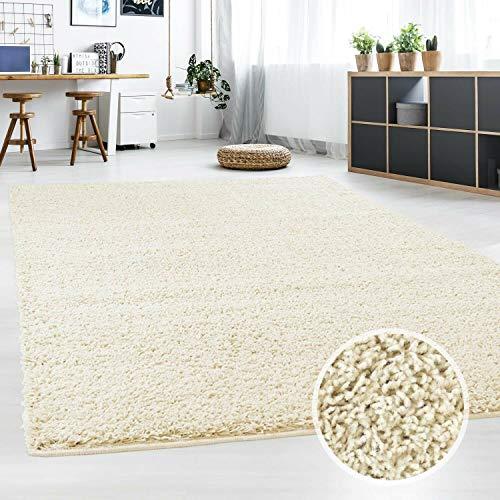 Hochflor Teppich | Shaggy Teppich fürs Wohnzimmer Modern & Flauschig | Läufer für Schlafzimmer, Esszimmer, Flur und Kinderzimmer | Langflor Carpet Creme 160x230 cm
