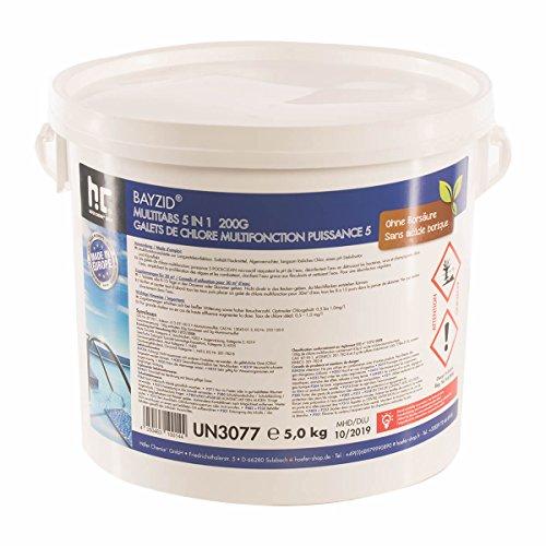 Chlor Multitabs 5 in 1 - 200g Tabs Multi Chlortabletten - 1 x 5kg - Für den Pool mit 5 Phasen Pflegewirkung für ein sauberes und hygienisches Poolwasser - Höfer Chemie