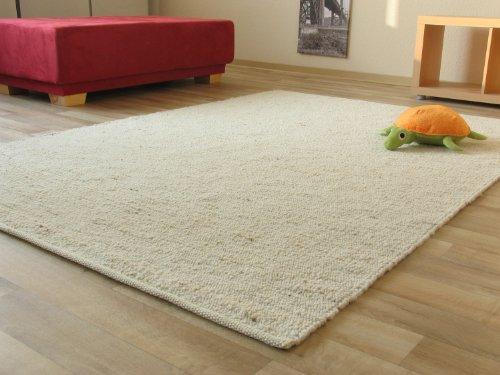 Landshut Handweb Teppich aus 100 % Schurwolle - natur hell, Größe: 70x130 cm
