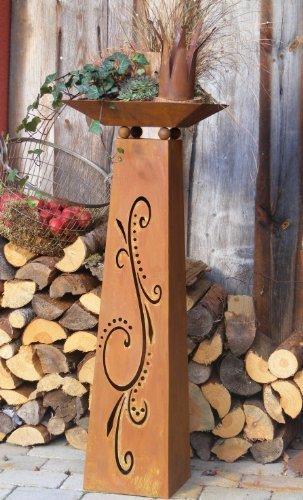 Edelrost Säule mit Schale, Rostige Blumensäule 115 cm mit Ornamenten, Flori