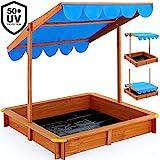 Sandkasten 120x120cm mit höhenverstellbarem und neigbarem Sonnendach und Bodenplane UV-Schutz 50 Sandkiste Kindersandkasten Buddelkiste Sandbox Sandkiste Kinder
