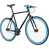 700C 28 Zoll Fixie Singlespeed Bike Galano Blade 5 Farben zur Auswahl, Rahmengrösse:59 cm, Farbe:Schwarz / Blau