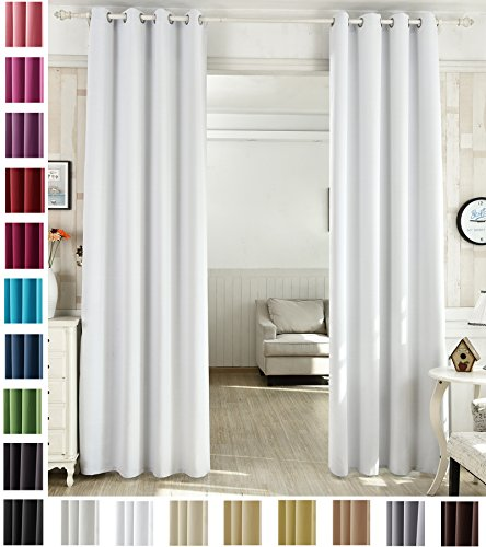 WOLTU #488, Vorhang Gardinen Blickdicht mit Ösen, Leichter & weicher Verdunklungsvorhang für Wohnzimmer Schlafzimmer Haustür, 135x225 cm, Weiß (Hinter: Grau), (1 Stück)